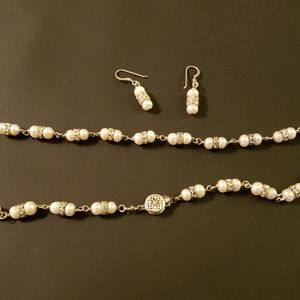 Real Silver, Pearl and Diamond Necklace w/Earrings